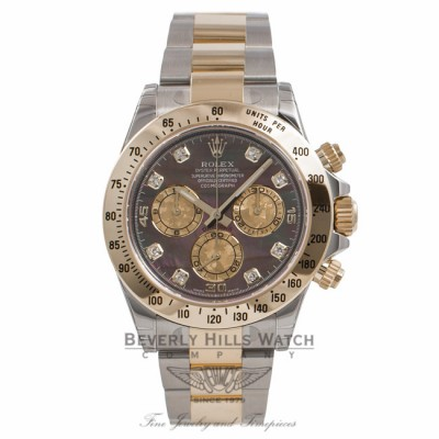 Rolex Daytona Two Tone Black Diamond Mother of Pearl Yellow Mother of Pearl  Subdials 116523 8KPL58 ... 4cece2d674b