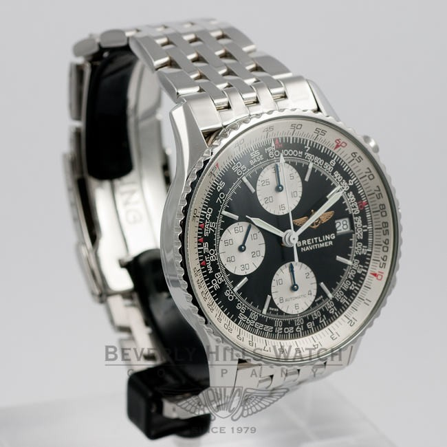 Breitling Old Navitimer Stainless Steel Bracelet Black Dial