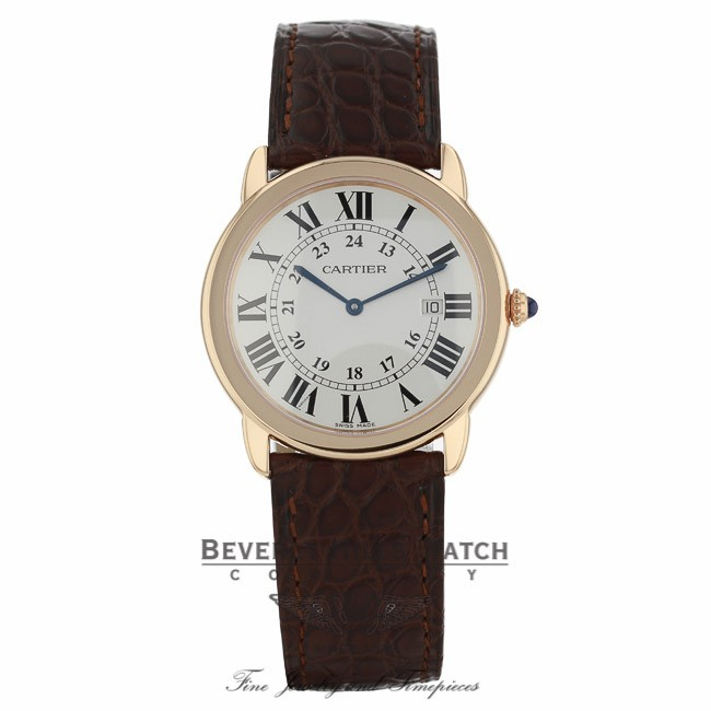 Cartier ronde solo xl 36mm 18k rose gold silver dial for Cartier in beverly hills