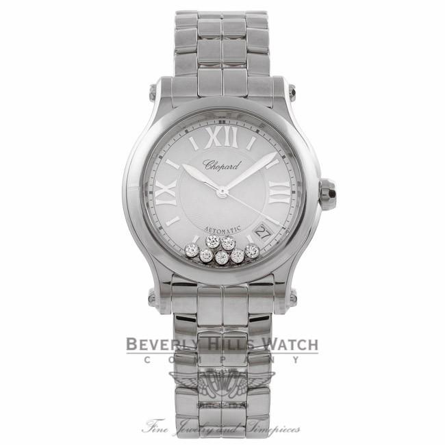 81a7157fc8040 Chopard Happy Sport Medium Stainless Steel Silver Dial 7 Floating Diamonds  on Bracelet 278559-3002