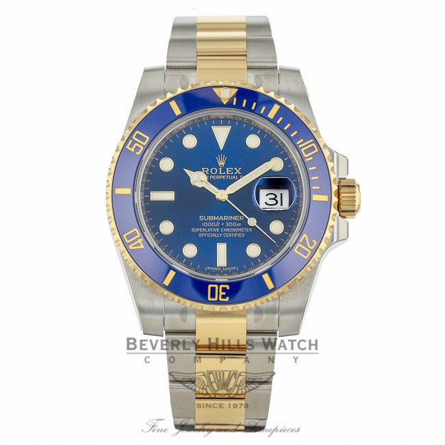 bbf87644e5f Rolex Submariner Stainless Steel and Yellow Gold Blue Dial Blue Ceramic  Bezel 116613 515N1Z - Beverly Hills Watch Company