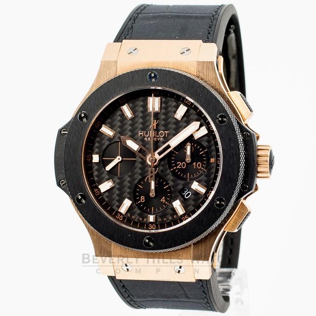 Hublot Big Bang Rose Gold 44mm Case Black Rubber Strap Carbon Fiber Dial  Chronograph Watch 301.PM.1780.RX - 55W6JF 0c236620d75b
