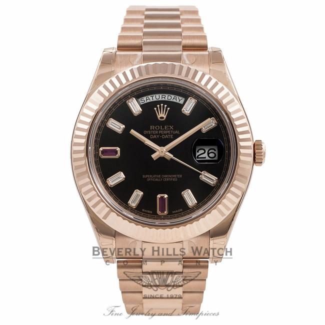 Rolex Day Date Ii President 41mm 18k Rose Gold Fluted Bezel