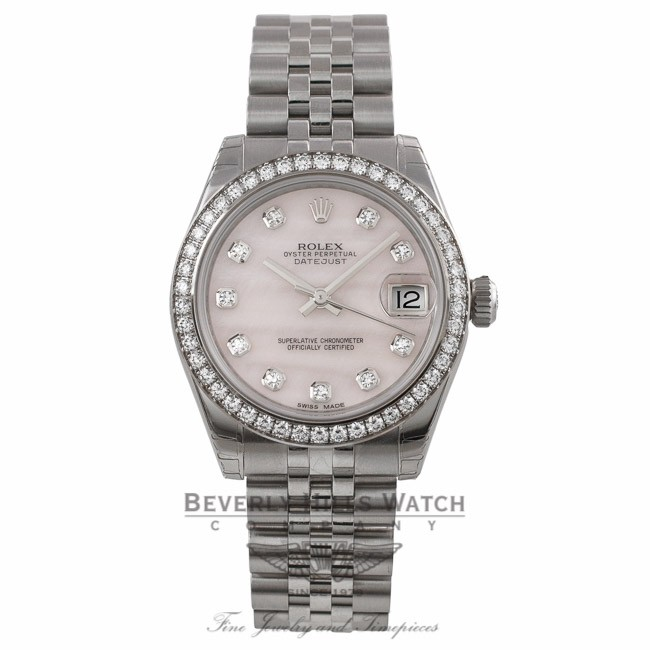 94d75ff7500 Rolex Datejust 31mm Stainless Steel White Gold Diamond Bezel Pink Mother Of Pearl  Diamond Dial Jubilee Bracelet 178384 YMQP68