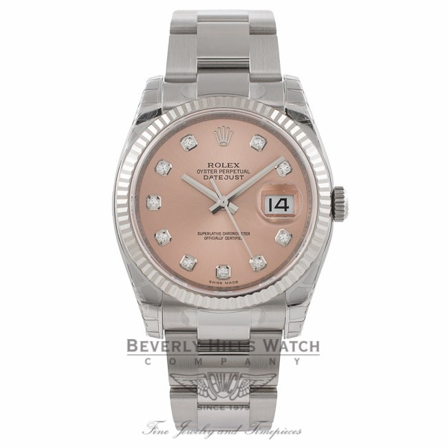 587031579a6 Rolex Datejust 36mm Stainless Steel White Gold Fluted Bezel Pink Diamond  Dial 116234 - Beverly Hills