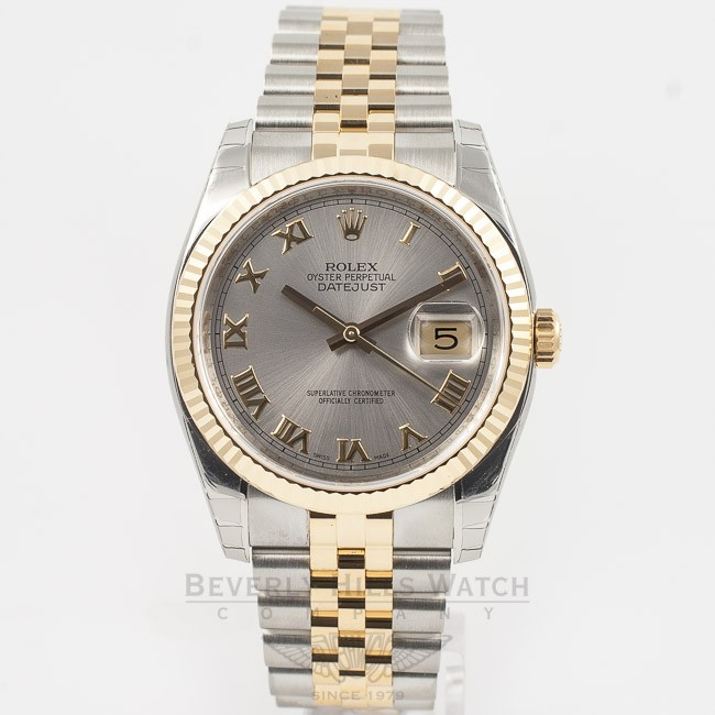 Rolex Datejust 36mm Stainless Steel And Yellow Gold Jubilee Bracelet Rhodium Roman Numeral Dial Fluted Bezel Watch 116233 Mun4ff