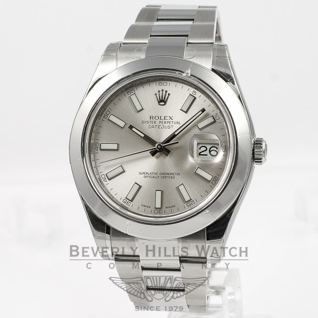 f7f6d332b4e Rolex Datejust II 41mm Stainless Steel Oyster Bracelet Smooth Bezel Silver  Stick Dial Watch 16300 - D1A134