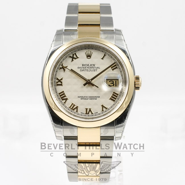 Rolex Datejust 36mm Stainless Steel And Yellow Gold Oyster Bracelet Domed Bezel Ivory Pyramid Roman Numeral Dial Watch 116203 Ndmgye
