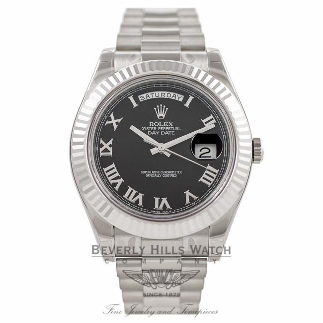 26e32f10fe3e Rolex Day-Date II 18K White Gold Black Roman Dial Fluted Bezel President  218239 EUZYVQ ...