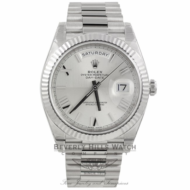 02bcd0f4c7d Rolex Day-Date 40 Silver Quadrant Motif Dial 18K White Gold President Watch  228239 QMX2W1 - Beverly ...