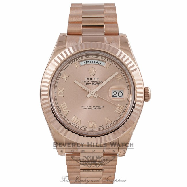 c2f641b334c Rolex Day Date II 41mm Everose Pink Champagne Dial Watch 218235 VXFZ2V -  Beverly Hills Watch