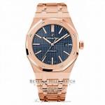 Audemars Piguet Royal Oak 41mm Blue Dial Rose Gold 15400OR.OO.1220OR.03 X6XXY7 - Beverly Hills Watch