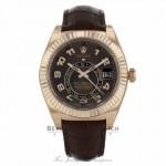Rolex Sky-Dweller 18K Everose Gold 42mm Leather Strap Deployment Buckle Annual Calendar GMT Watch 326135 9E8AWT - Beverly Hills Watch Company