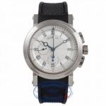 Breguet Horlodger de la Marine 18k White Gold Chronograph Silver Dial Blue Markings Rubber Strap 5827BB.125ZU 9FNNDD - Beverly Hills Watch Company Watch Store