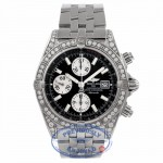 Breitling Chronomat Stainless Steel Black Dial Silver Subdials Diamond Case and Bezel A13356 KMU2Y2 - Beverly Hills Watch Company Watch Store
