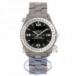 Breitling Emergency Quartz Chronometer Chronograph 42mm Titanium Black Dial Bi-Directional Rotating Bezel Bracelet Folding Clasp Safty Latch E7632110/B576 632YDK - Beverly Hills Watch Company