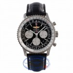 Breitling Navitimer 01 Chronograph 43MM Stainless Steel Black Dial Black Leather Strap AB012012/BB01 LXHJCN - Beverly Hills Watch Company Watch Store