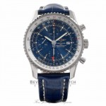 Breitling Navitimer World Chrono 46MM Stainless Steel Blue dial & Alligator Strap A2432212/C561 DJXW4D Stainless steel case and bezel. Blue dial with silver tone index  hour markers and Arabic numerals, luminous hands and hour markers. Automatic movement,