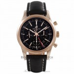 Breitling Transocean Chronograph GMT Black Dial 18k Rose Gold Black Alligator Strap RB045112/BC68 - Beverly Hills Watch Company Watch Store