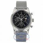 Breitling Transocean Chronograph 1461 Stainless Steel Black Dial A1931012/BB68 X6CU9L - Beverly Hills Watch Company
