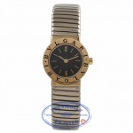 Bulgari Ladies Tubogas Petite White and Yellow Gold Black Dial BB23.2T UNQZRJ - Beverly Hills Watch Store