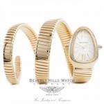 Bulgari Serpenti 18k Yellow Gold Diamond Bezel Silver Dial Double Twirl Wrap Around SP35C6GDG.2T ZIMBYZ - Beverly Hills Watch Company Watch Store