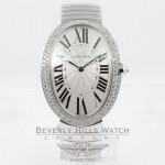 Cartier Baignoire Large 18K White Gold Bracelet Double Row Diamond Bezel Silver Diamond Bezel Watch WB520010 Beverly Hills Watch Company Watches