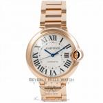 Cartier Ballon Bleu Medium 18k Rose Gold Silver Dial Automatic W69004Z2 84MP97 - Beverly Hills Watch Company Watch Store