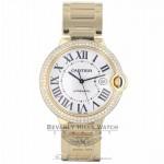 Cartier Ballon Bleu Large 42mm 18k Yellow Gold Diamond Bezel WE9007Z3 APZ9R8 - Beverly Hills Watch Company