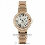 Cartier Ballon Bleu 3mm Silver Dial 18kt Rose Gold Diamond Bezel WE902034 RLM49D - Beverly Hills Watch Company