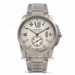 Cartier Calibre De Cartier 42MM Stainless Steel Silver Dial Automatic W7100037 D55S75 - Beverly Hills Watch Store