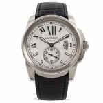Cartier Calibre De Cartier 42MM Stainless Steel Black Alligator Strap W7100037 D55S75 - Beverly Hills Watch Company Watch Store