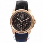 Cartier Calibre De Cartier 42MM 18k Rose Gold Chocolate Dial W7100007 LHFCAM - Beverly Hills Watch Company Watch Store