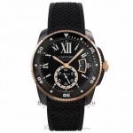 CALIBRE DE CARTIER CARBON DIVER WATCH 42 mm, Rose Gold , ADLC, rubber WSCA0006 DWEKUC - Beverly Hills Watch Company Watch Store