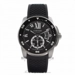 Cartier Calibre de Cartier Stainless Diver Steel Black Dial Automatic Rubber Strap W7100056 LYEUVM - Beverly Hills Watch Company Watch Store