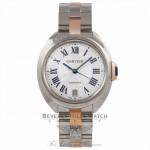 Cartier Cle De Cartier 18k Rose Gold Stainless Steel Silver Dial Bracelet W2CL0003 P0KNVU - Beverly Hills Watch Company