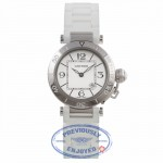 Cartier Pasha Seatimer 33MM Stainless Steel Silver Dial White Rubber Strap W3140002 VPEMNE - Beverly Hills Watch Company Watch Store