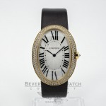 Large Cartier Baignoire 18K Yellow Gold Case Diamond Bezel Fabric Satin Strap Ladies Watch WB520022 Beverly Hills Watch Company Watches