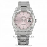 Rolex Datejust 36mm Stainless Steel Oyster Bracelet Pink Stick Dial Domed Bezel Watch 116200 - NWV4N3 - Beverly Hills Watch Company Watch Store