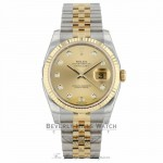 Rolex Datejust 36MM 18K Yellow Gold Stainless Steel 18k Yellow Gold Fluted Bezel Champagne Diamond Dial 116233 - Beverly Hills Watch Company