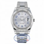 Rolex Datejust II 41mm White Gold Fluted Bezel Stainless Steel Silver Arabic Dial 116334 - Beverly Hills Watch