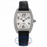 Franck Muller Cintree Curvex 21MM 18k White Gold Silver Dial Diamond Bezel Black Strap 2251 QZ DP WGE X3VPT1 - Beverly Hills Watch Company Watch Store