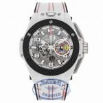 Hublot Big Bang Ferrari Chronograph 45MM Automatic Ceramic Skeleton Dial White Leather Strap 401.HQ.0121.VR 12W6MQ - Beverly Hills Watch Company