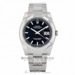 Rolex Datejust 36MM Stainless Steel Black Dial Automatic Smooth Domed Bezel 116200 - Beverly Hills Watch