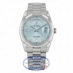 Rolex Day-Date 36mm President Platinum Glacier Blue Dial 118206 GLADP - Beverly Hills Watch