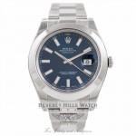 Rolex Datejust II Stainless Steel 41mm Smooth Bezel Oyster Bracelet Blue Stick Dial Watch 116300 D3AEJJ - Beverly Hills Watch Company Watch Store
