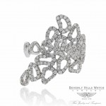 18k White Gold Diamond Ring Off Center Small Organic Shapes Opening On The Side D00279R0024 15K1DH - Beverly Hills Watch