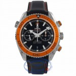 Omega Seamaster Planet Ocean Co-Axial Orange Bezel Black Rubber Strap 23232465101001 5QW04J - Beverly Hills Watch Company Watch Store