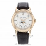 Patek Philippe Annual Calendar Opaline White Dial Brown Leather 5205R/001 QJV194 - Beverly Hills Watch