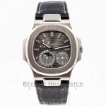 Patek Philippe Nautilus 5712 18K White Gold Case Slate Dial Moonphase Power Reserve Leather Strap Watch 5712G-001 Beverly Hills Luxury Watch Store